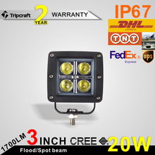 spot beam and flood beam for option cool square 20w 60w led work light, offroad light bar