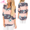 High Quality Print V Neck New Summer Floral Blouse
