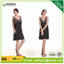 Factory wholesale price satin pajamas women short skirt nightwear sexy nightgown