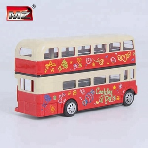 double decker bus open door pull back toy metal car for kids