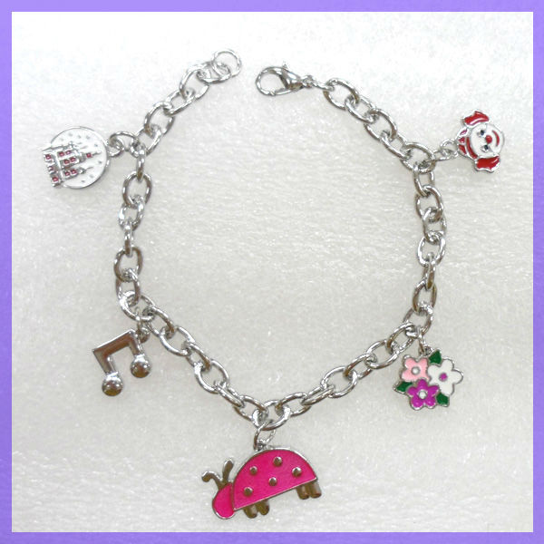 Clown,flower,music note,ladybird,castle European DIY 5 Pendants Animal Bracelet #31339