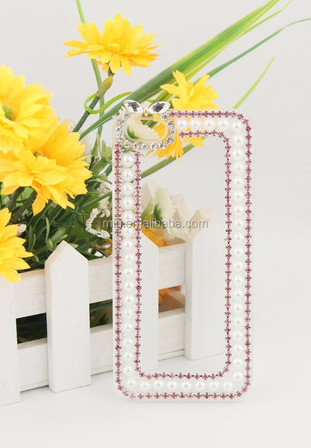 Transparent PC phone case with Pearls and diamonds for samsung galaxy s6/ s6 edge/ 6 edge plus also for s3 s4 s5 note 5 4 3 2