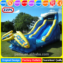 ZZPL 20 foot slide Height cheap kids outdoor event wipe out inflatable wave water slide