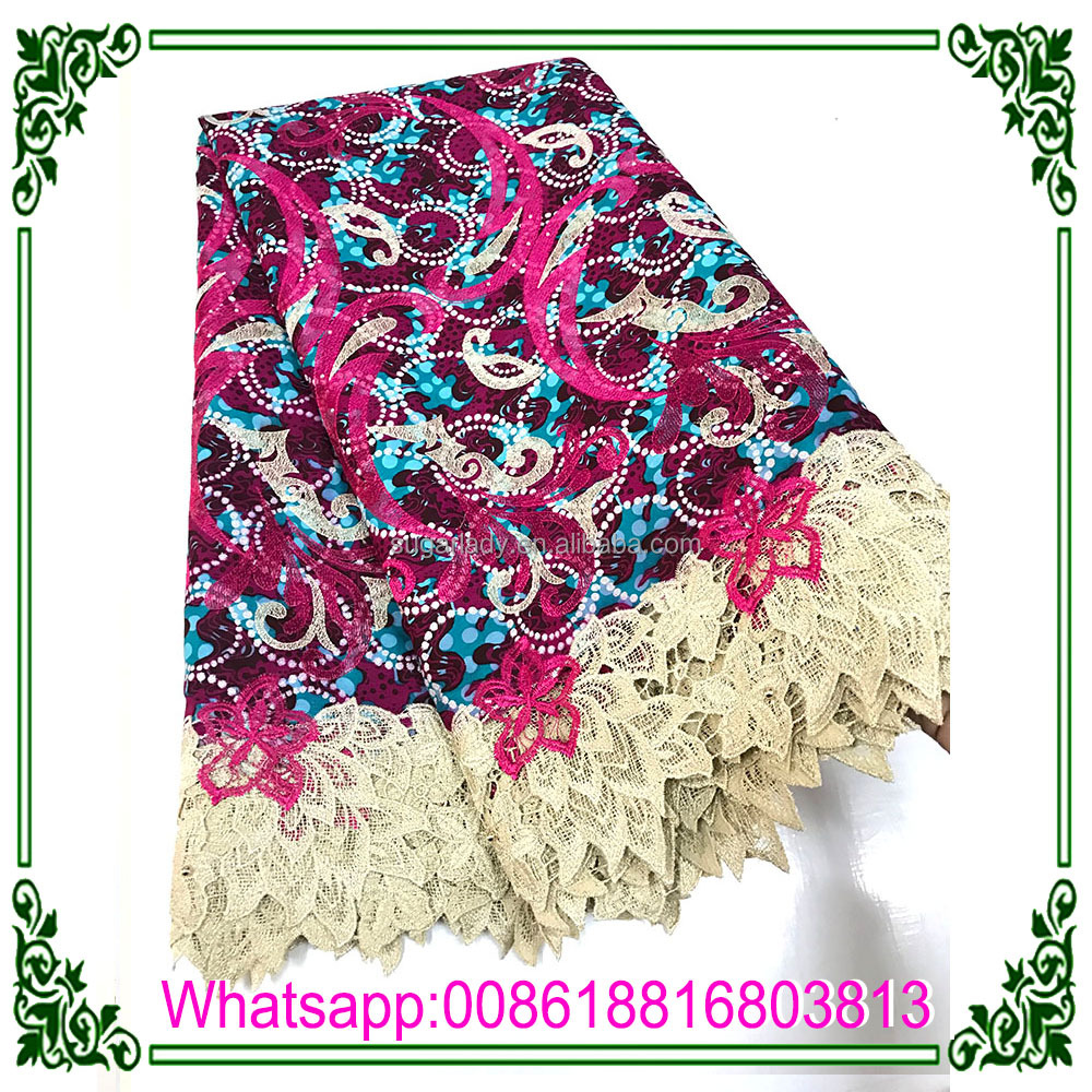indian wax lace embroidery fabric ,ankara lace fabric for garment
