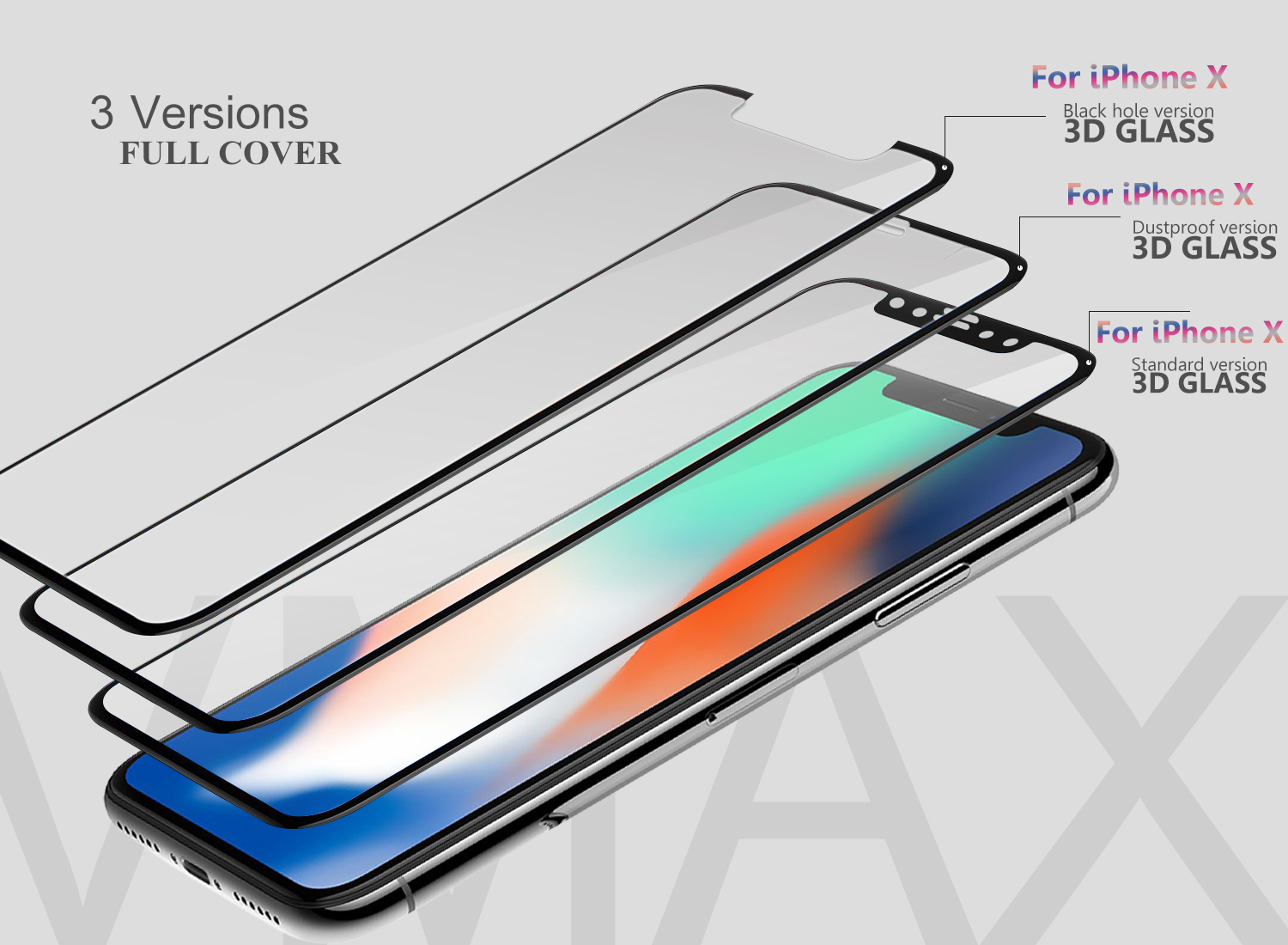 High transparant 0.33mm ultra thin anti blue light anti scratch 9h hardness tempered glass screen protector for iPhone X 10