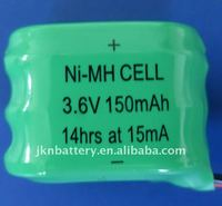 150mAh nimh button cell battery pack rechargeable battery pack 3.6v