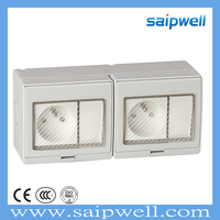 SAIPWELL/SAIP 16A , 250V Electrical 2 Way French Waterproof Switch Socket(SP-2FRS)