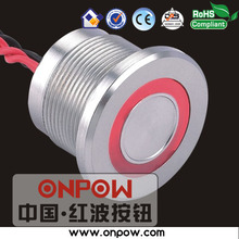 Best selling piezo switch made since 1988 (CE, ROHS) 22mm 1NO metal ring illuminated piezo switch