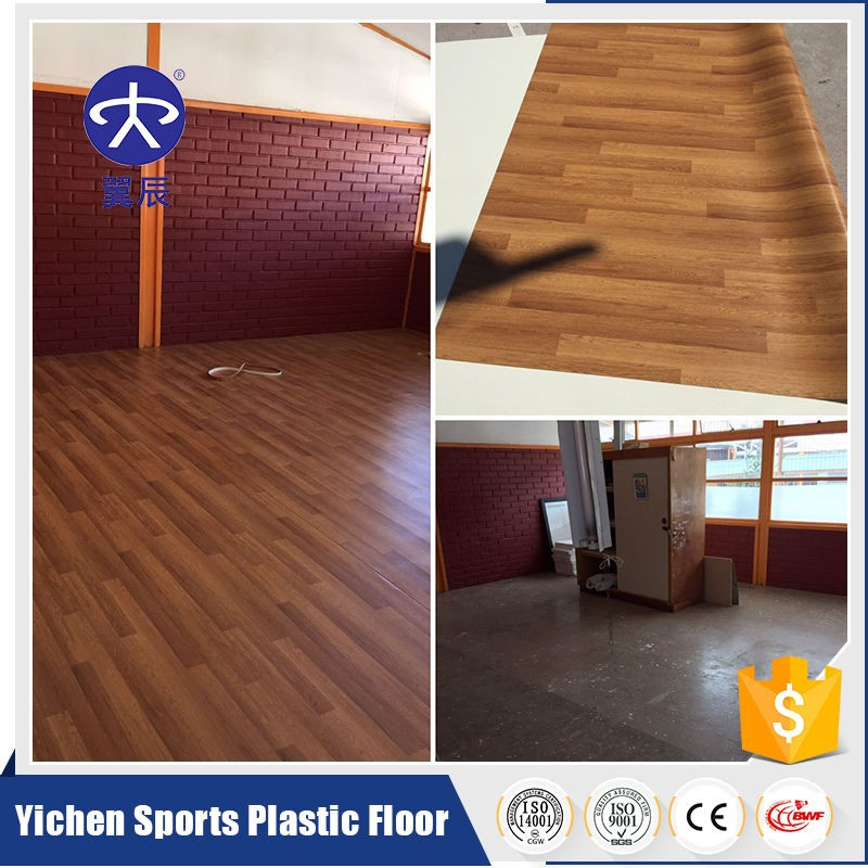 maple wood grain pvc vinyl flooring for school, sport court