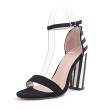 most stylish concise black white thick heel zebra stripe prints ladies ankle strap high heel sandals shoes