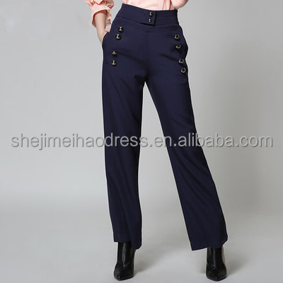 2016 hot sale picture of pant and shirt style female trousers