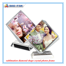 3D Blank Sublimation Diamond Shape Crystal Photos Frame Sublimation Crystal DIY Gift High Quality