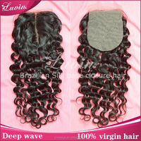 "10"" deep wave wholesale skin base closure synthetic silk base hair closure piece"