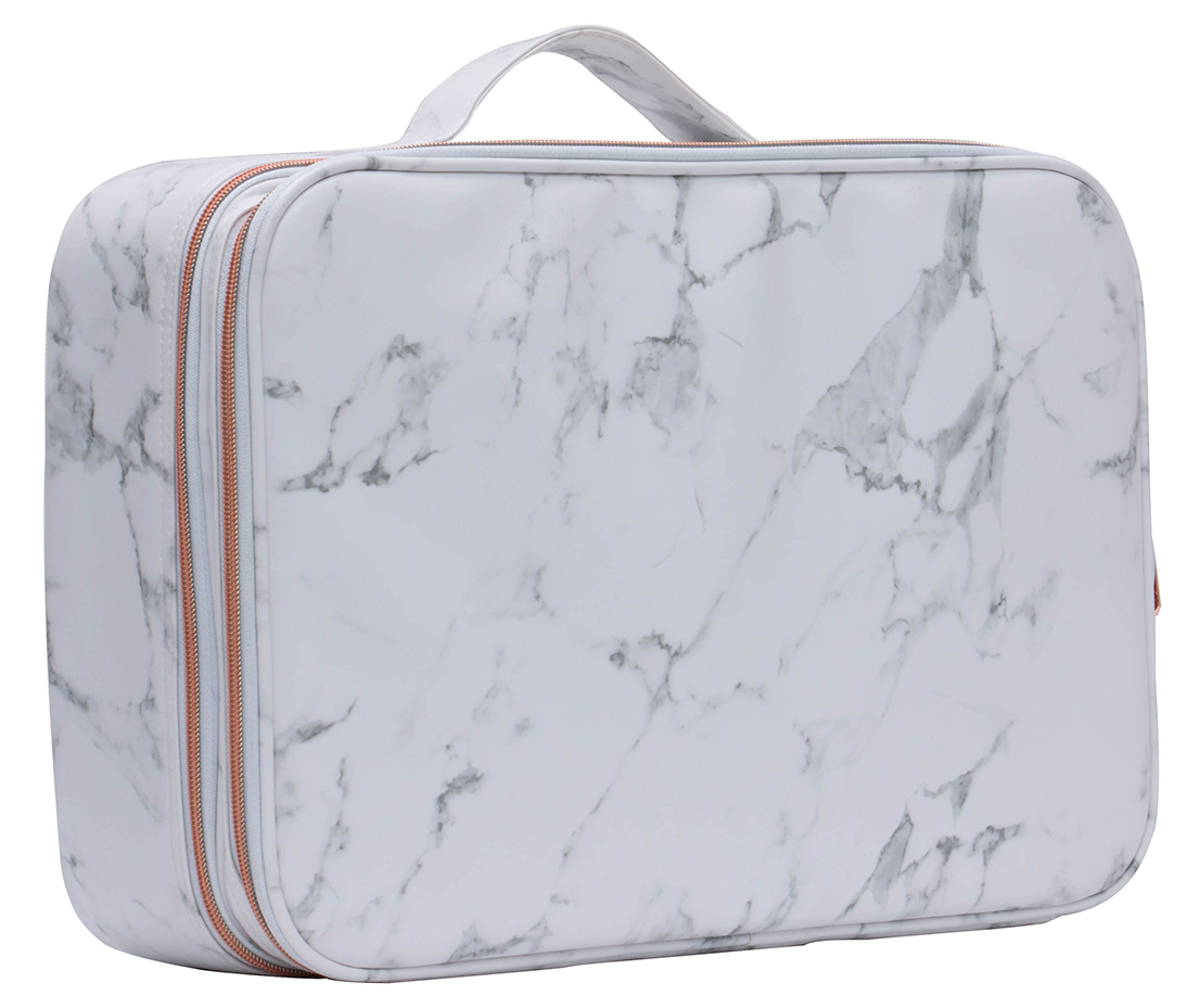 small portable marble PU beauty cosmetic bag with customized remove plastic divider insert