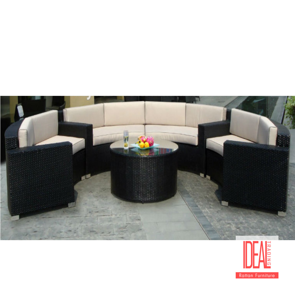 Modern hotel patio used luxury garden rattan sofa outdoor curved home furniture