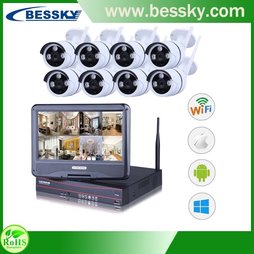 8CH Wireless ip camera NVR kit waterproof Mini Monitor 1080P outdoor ip camera Kit wifi Cameras 8CH