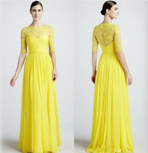 C28046A Ladies Yellow Cocktail Dresses