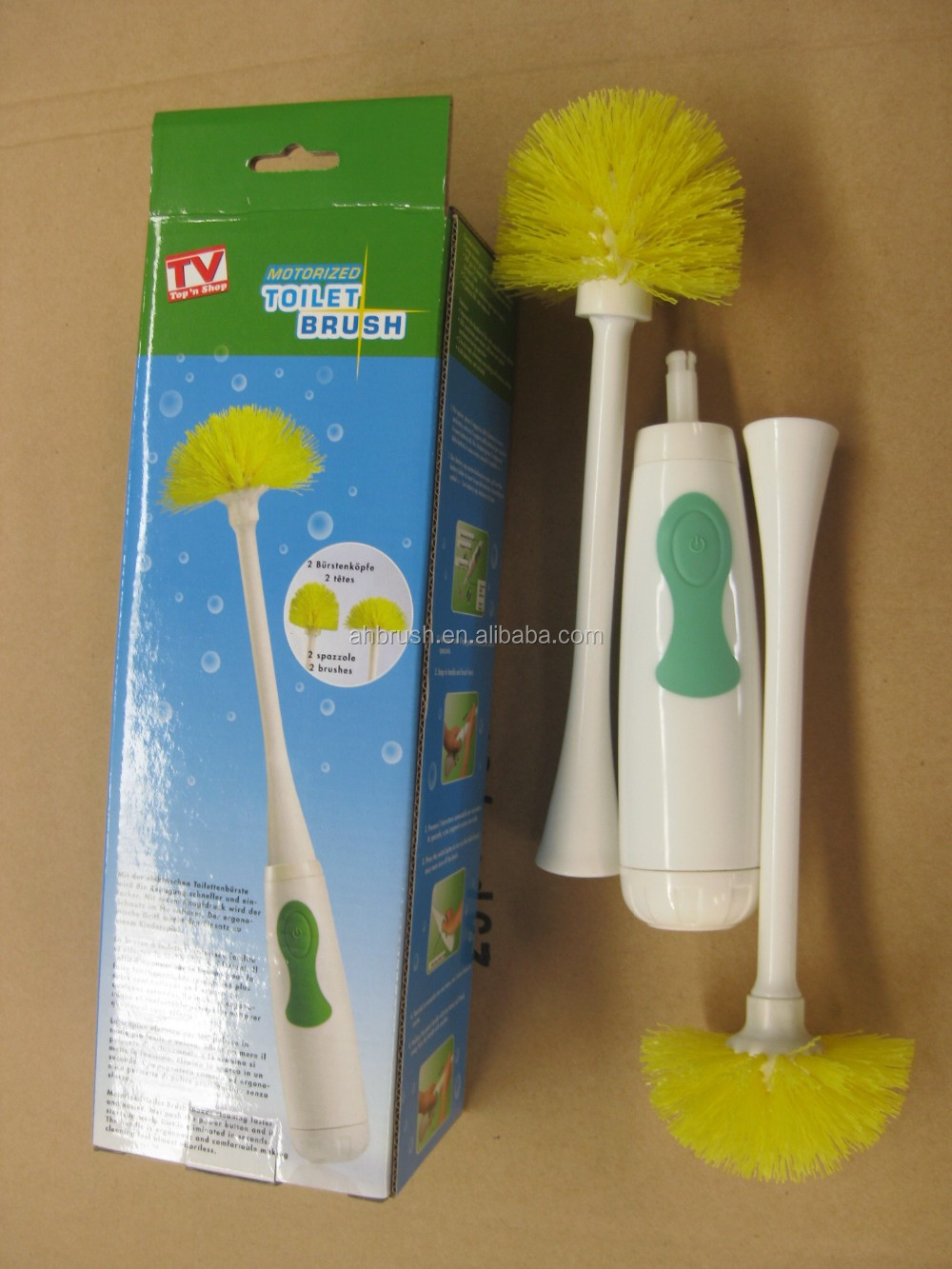 powered electric plastic toilet brush set