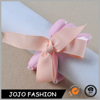 Fashion pink bow design multilayers bead acrylic bracelet for girls