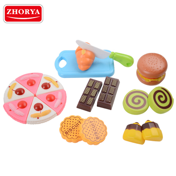 zhorya high quality plastic sweet chocolate cake bread biscuits food cutting toys with plastic cutting board and knife