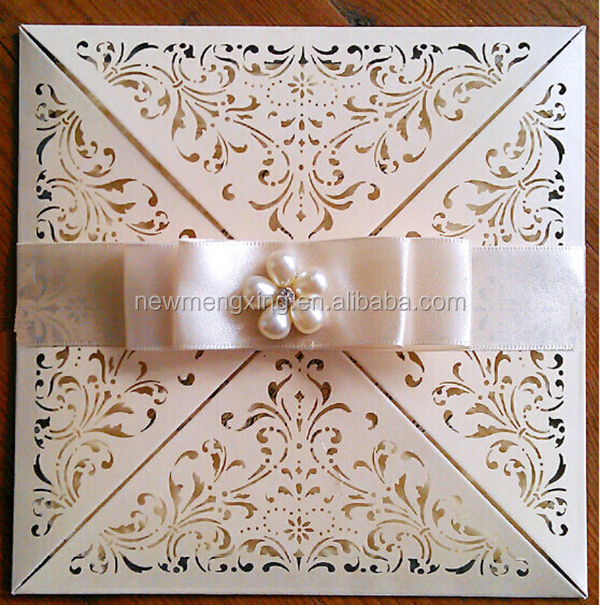 Newmengxing patrician laser cut pocket wedding invitations with rsvp and one color foil printing