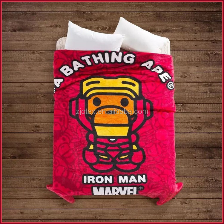 A Bathing Ape Iron Man Fannel blanket Red Tide Brand bed blanket Marvel