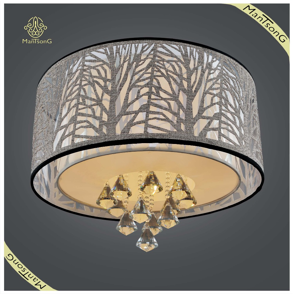 Wholesale Crystal Hanging Ceiling Lamp White Fabric Shade, Living Room and Hotel Ceiling Lamp