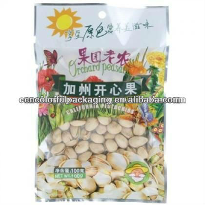 PVCPE/ Plastic food grade gift or present Nuts packaging bags with colorful printing for peanuts