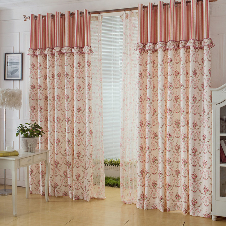 Festive Princess Colored Lace Tulle Pastoral Cloth Embroidered Curtains