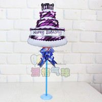 Birthday cake table floating/standing foil balloons with stick balloons
