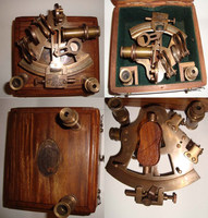 Antique Finish Brass Marine Sextant and Spare Telescope with Wood Box, Item number Sai-2618