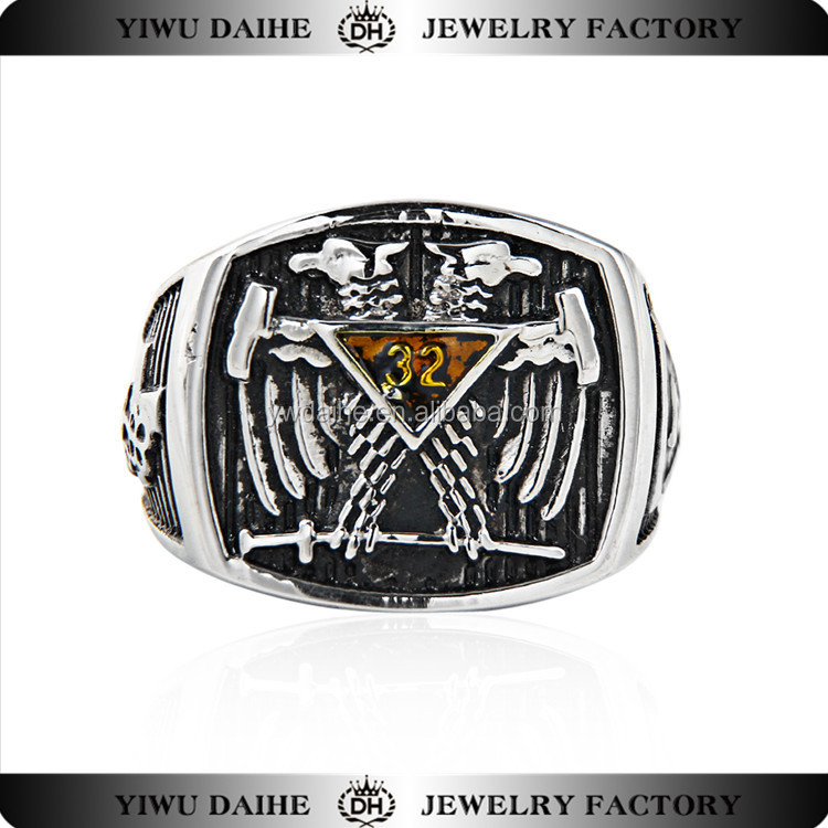DAIHE 2017 Trend New design gun black plating fashion stainless steel men's <strong>ring</strong>