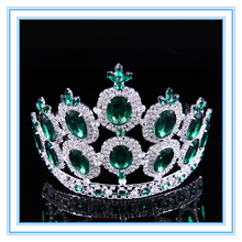 Baroque style green diamond big king crown tall bridal tiara for wedding