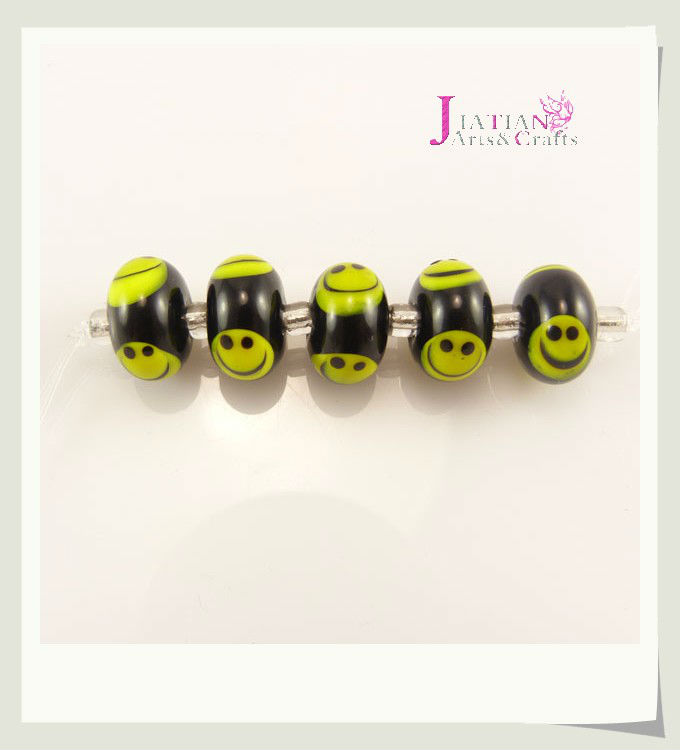 smile face black murano glass beads
