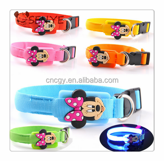 2015LED dog collar Top quality led flashing cartoon small dog harness