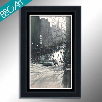 Z(1103) Modern cityscape print painting art decorative wall picture city scenery oil painting
