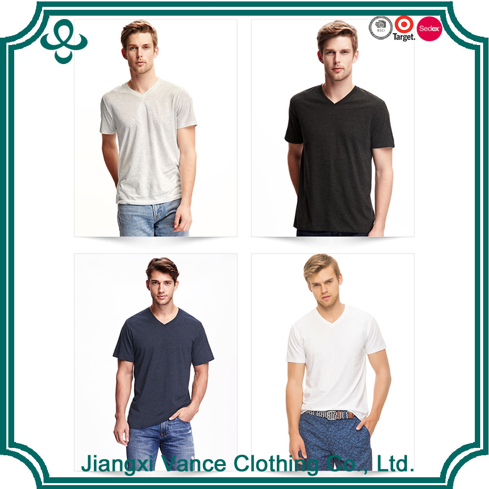 BSCI OEM Supply Type 160G Cotton Sexy V Neck Four Color Men T Shirt Plain Dyed Blank Short Sleeve Summer Tee Shirt