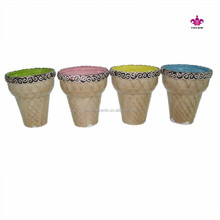 Ceramic 250ml ice cream cup,ceramic ice cream cone shape cup with embossed chocolate color painting
