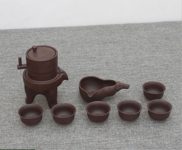 Purple Clay burrstone mill Portable Travel Kungfu tea set with tray