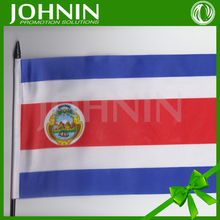 Cheap polyester printed promotional plastic holder 20*30 hand flags of costa rica
