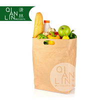 Enviromental Die Cut Brown Kraft Grocery Sack Paper Shopping Bags with Handle for