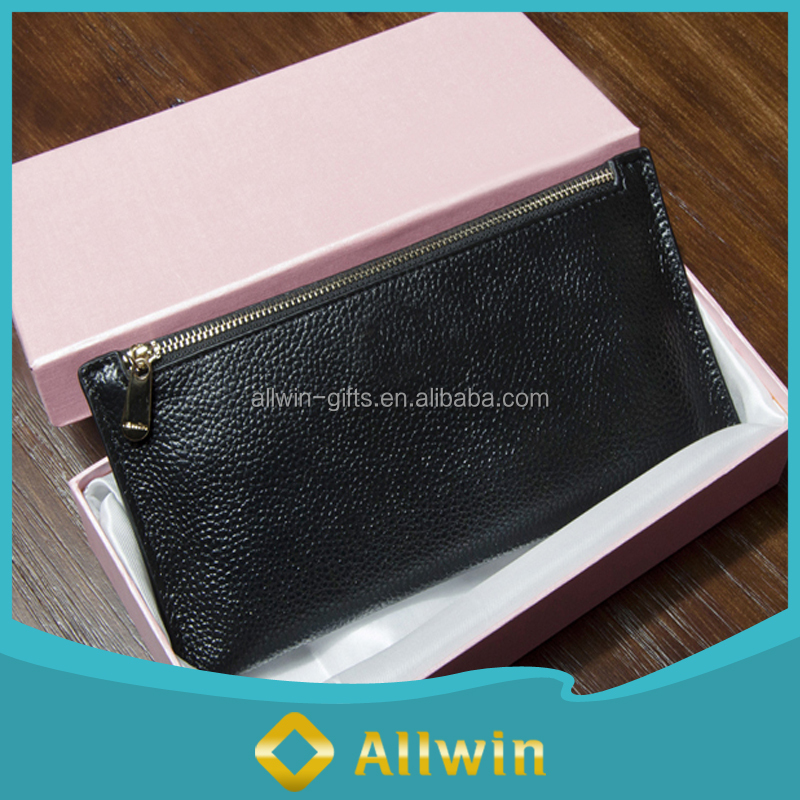 Wholesale thin RFID functional leather purse for ladies with metal zipper locks