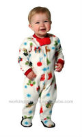 infant footed pajamas/plush pajama/infant cuddly onesie