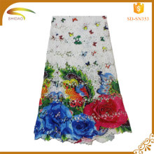 SD- SN00353 Soft Big Flower Print Fabric;High Quality Digital Print Lace With Holes Flower Fabric