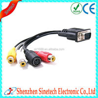 High Quality 6FT 3 RCA S-Video to VGA Cable for PC, Laptop, LCD Projector, HDTV etc
