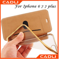 Electroplating Soft TPU Back Cover Flip Leather Mobile Phone Cases for Iphone 6 7 7 plus