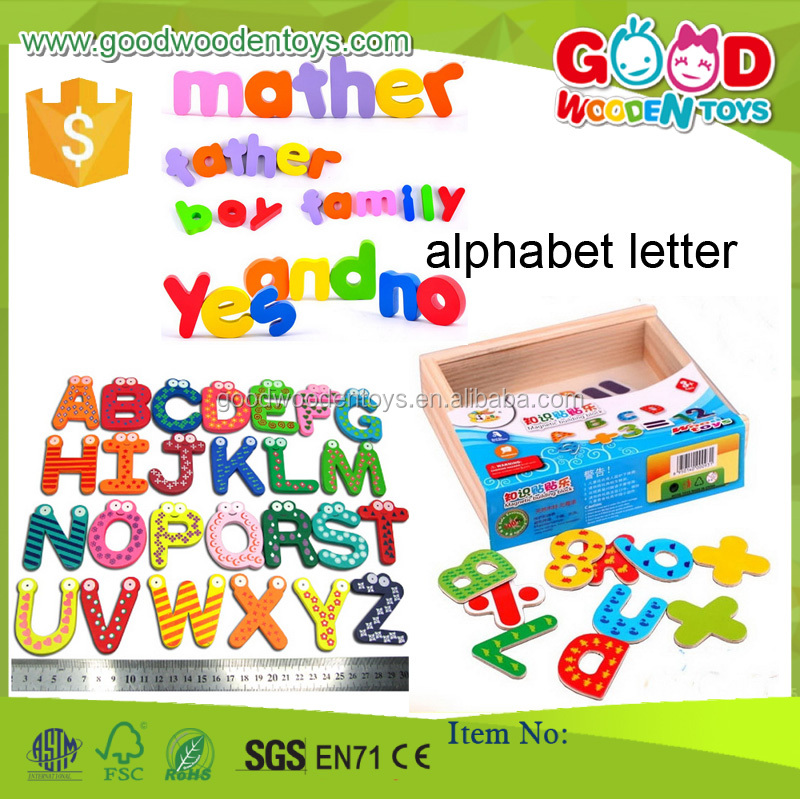 2016 Promotional Colorful Wooden Alphabet Toy Kids Preschool Educational Letter Game Magnetic Alphabet Letter for Children