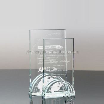 Elegant award plaque design cheap glass globe trophies with customized logo