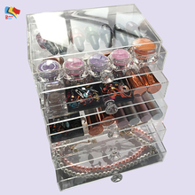5 tiers clear acrylic makeup organizer with drawer