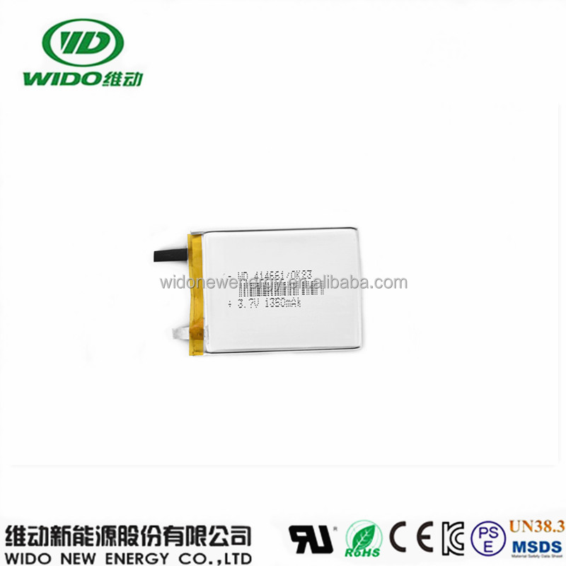 lipo 414661 3.7v 1350mah lithium ion rechargeable polymer battery